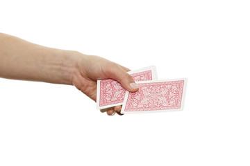 Hand teilt Spielkarten aus