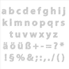 Alphabet klein editierbare Text mit Grafikstile Bleistift