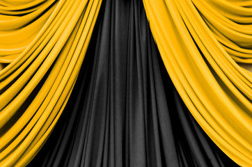 gold and black curtain on stage