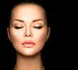 canvas print picture - Beauty woman face closeup isolated on black background