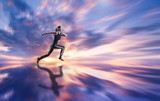 Fototapety Woman running against coloured sky