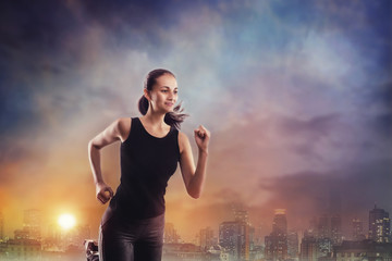 Woman running outdoors in a city
