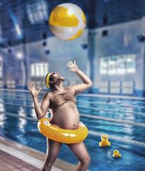 Man having fun in pool