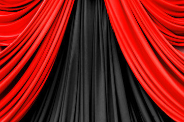 red and black curtain on stage