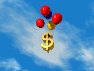 Símbolo de dinero flotando en el aire con globos