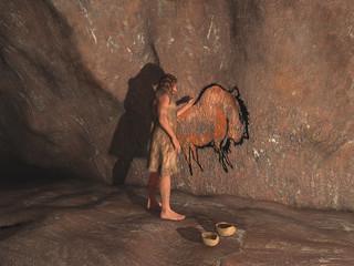 Cavernícola realizando una pintura rupestre