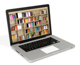 3d laptop with book shelves