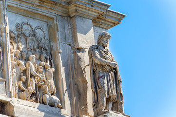 Statues on the Arch of Constantine in Rome, Italy