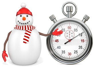 3d snowman with a stopwatch