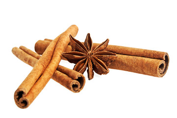 Cinnamon sticks and stars anise isolated on a white background