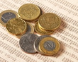 Money: euro coins and bills close up.