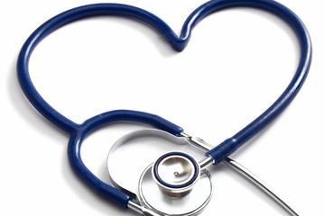 A stethoscope on a white background, closeup