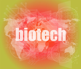 biotech words on digital touch screen interface