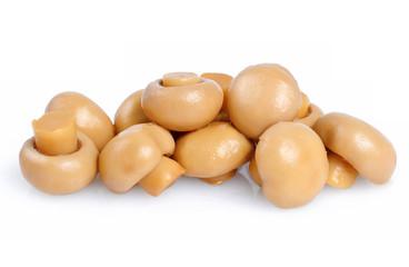 Pickled mushrooms on white background