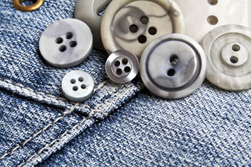 Buttons on denim