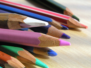 Group of wooden pencils - close up