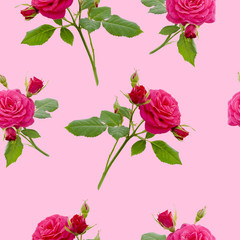 floral red rose seamless pattern