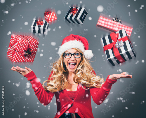 canvas print picture santagirl throwing gifts - Santagirl 11