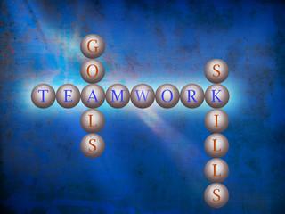 Teamwork word cloud writen on balls