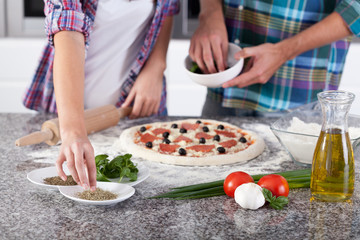 Homemade pizza before baking