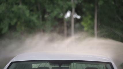 Сarwash white car washes slow motion