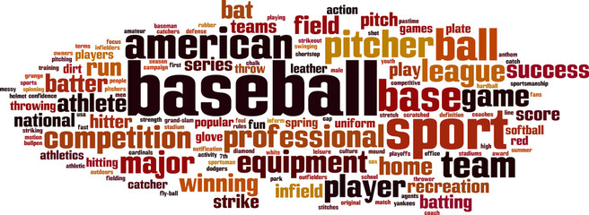 Baseball word cloud concept. Vector illustration