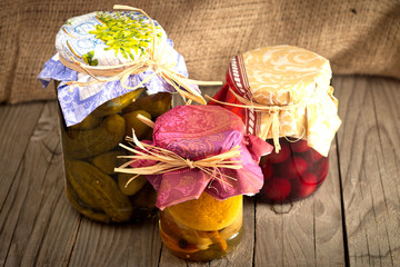 Preserved fruits and vegetables. Autumn supply.