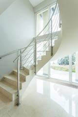Spiral white stairs