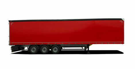 red truck semi trailer
