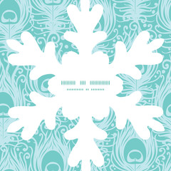 Vector soft peacock feathers Christmas snowflake silhouette