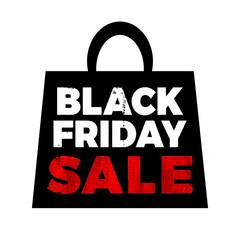 Black friday sale. Shopping bag. Vector illustration.