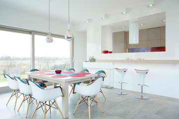 Dining room with color elements