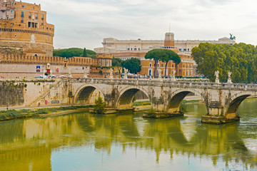 St. Angelo Bridge in Rome,  Italy.