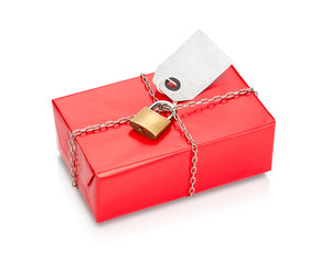 Locked and wrapped gift in red paper.