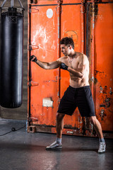 Young man boxing workout