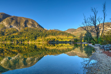 Mountain Lake in Autumn afternoon