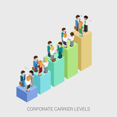 Flat 3d isometric web infographic corporate carrier ladders