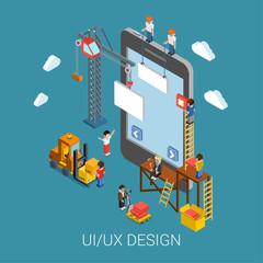 Flat 3d isometric UI/UX design web infographic concept