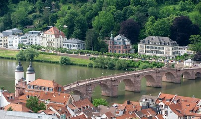 View of Heidelberg old town from across the River Neckar
