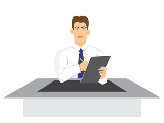 illustration of Businessman with clipboard vector isolated