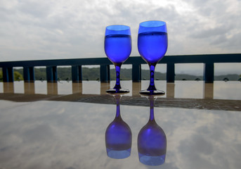 Two Glasses of water  on the table