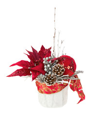 Composition from Poinsettia Plant with branches, cones, ribbons