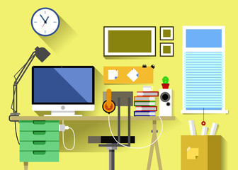 Vector New Flat Design Layout Workplace Room