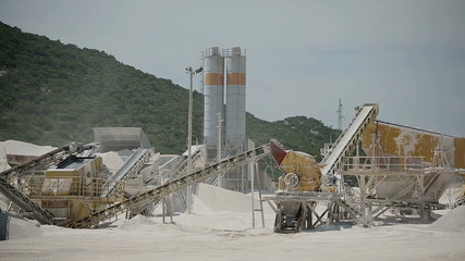Production of stone in the quarry in Croatia
