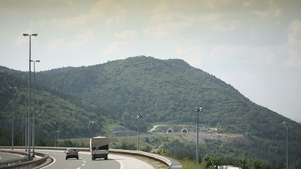 Croatian motorway road autobahn enter the tunnel in the mountain