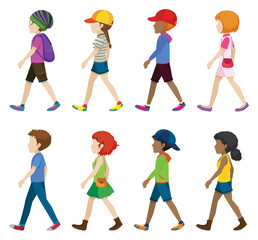 Fashionable teenagers walking