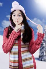 Cute girl warn to quiet