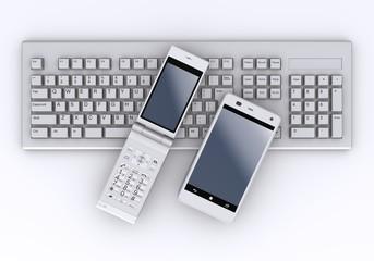 モバイルフォンとキーボード