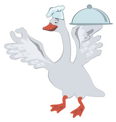 Funny goose with cooking pot on a white background