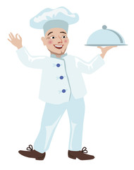 Funny chef runs with a dish